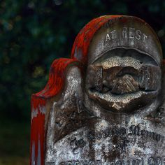Red lichens grow on grave in Tasmania