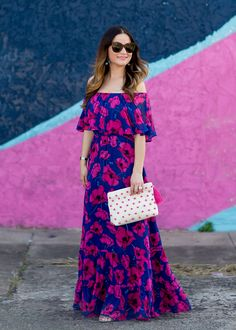Jennifer Lake Style Charade in a floral off the shoulder maxi dress, pink pompom clutch, BaubleBar Melina hoops, and Celine Marta sunglasses in Austin Cute Dresses, Casual Dresses, Summer Dresses, Women's Casual, Party Dresses, Trendy Dresses, Dress Outfits, Fashion Dresses, Dress Up