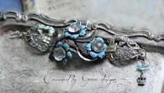 Forget- Me-Not~ vintage assemblage bracelet blue enamel flowers rhinestone shoe clips one of a kind bracelet crowned by grace