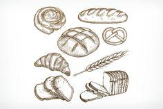 Bread sketches by Allevinatis Studio on @creativemarket