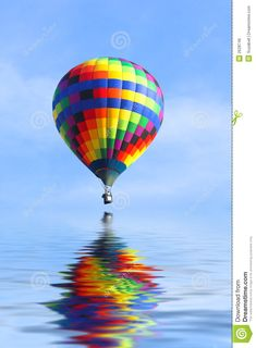Hot Air Balloon Over Water Royalty Free Stock Image - Image: 2628746
