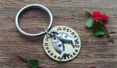 Garden Gnome KeyRing Hand Crafted Pewter Key Ring in pouch Gift Idea
