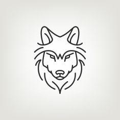 Wolf head mono line logo icon design. vector art illustration
