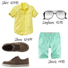 Bright and fun colors are a must have for a summer wardrobe. This lovely citron yellow shirt paired with pale mint green shorts is a great way to show that color can be classy!  Mellow out the combo by adding a pair of brown boat shoes. Throw in a sleek pair of aviator sunglasses and your little dude to ready to hit the streets for a little summer fun.
