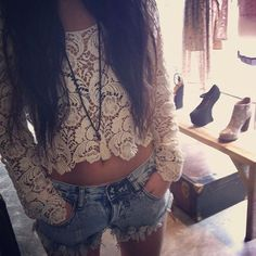 lace shirt and shorts