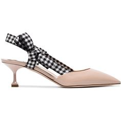 Miu Miu 55 Gingham Ribbon Slingback Pumps (£500) ❤ liked on Polyvore featuring shoes, pumps, colorful shoes, multi coloured shoes, ribbon shoes, sling back pumps and slingback shoes