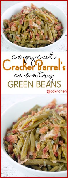 Copycat Cracker Barrel Country Green Beans - You won't believe how easy it is to copy this popular side dish from Cracker Barrel at home. The recipe is made with bacon, green beans, onion, and seasoni Cracker Barrel Green Beans Recipe, Country Green Beans Recipe, Cracker Barrel Copycat Recipes, Cracker Barrel Vegetable Soup Recipe, Cracker Barrel Carrots, Seasoned Green Beans, Green Beans With Bacon, Can Green Beans, Veggies