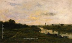 Charles Francois Daubigny Cows on the Banks of the Seine, at Conflans, painting Authorized official website