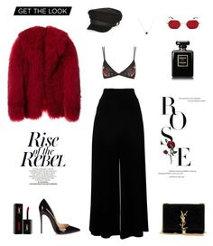 """""""Red"""" by xmazyad ❤ liked on Polyvore featuring Topshop, Christian Louboutin, River Island, Yves Saint Laurent and Chanel"""