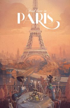 Retro Paris Travel Poster by DreamMachinePrints on Etsy