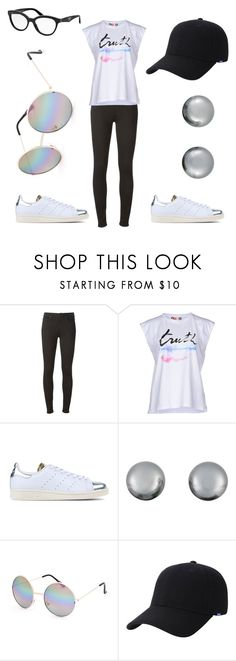 """""""Untitled #25"""" by edens-paradise ❤ liked on Polyvore featuring 7 For All Mankind, MSGM, adidas Originals, Kenneth Jay Lane, Full Tilt, Keds and Prada"""