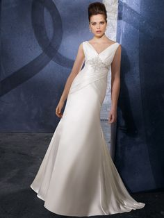 V-neck Wedding Gowns with Delicate Pleats and Beadings Sweep Train Soft Satin
