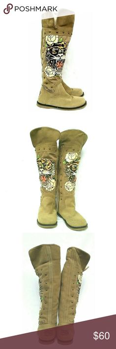 ED HARDY TAUPE TIGER ART SUEDE FUR BOOTS ED HARDY TIGER ART SUEDE FUR BOOTS Barley Used SZ 6 Style: 18FSZ103W Suede Upper Lining: Faux Fur  These Are OH SO COOL! Inner Zipper, Tiger Art withRoses, Rubber Flat Sole, Antique Metal Studs, Fold Down TOPS  Colors May Not be Exact due to Lighting or Ur Screen Ed Hardy Shoes Over the Knee Boots