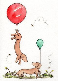 Dachshund Nursery Art- Up and Away 8X10 Archival Print for Baby and Children- Two Dachshunds with Red and Green Balloons-