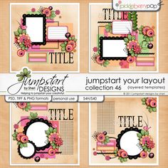 Jumpstart Your Layout {Templates} - Collection 46      JUMPSTART YOUR LAYOUTS are a line of layout templates designed specifically to do just that… jump start your layouts and kick start your creativity!