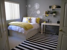 yellow gray bedroom - like the gray wall, white painted or vinyl accents. Great for guest room