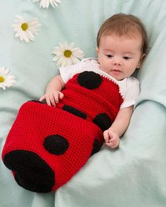 Best Free Crochet » Free Ladybug Baby Cocoon Crochet Pattern From RedHeart.com