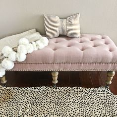 Home Tour: Cheetah leopard rug, Isabelle Upholstered Bedroom Bench, pom pom throw blanket, gold striped bow pillow - double click the photo above for details on everything // http://www.stylishpetite.com/2016/01/home-tour.html