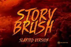 Story Brush Slanted Font