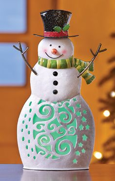 Color Changing Holiday Tabletop Snowman with LED Lights