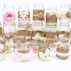 Shabby Chic Centerpieces Mason Jars Rustic Baby Shower Baby Shower Centerpieces Baby Girl Rustic Centerpiece Girls Birthday-Set of 30 Baby shower Shabby Chic Rustique, Cumpleaños Shabby Chic, Shabby Chic Baby Shower, Baby Shower Vintage, Shabby Chic Centerpieces, Baby Shower Centerpieces, Baby Shower Decorations, Jar Centerpieces, Wedding Centerpieces