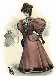 Fashionable woman dressed in a stylish walking suit