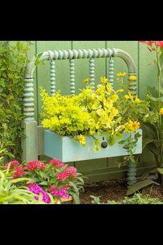 repurposed crib or twin headboard and drawer planter