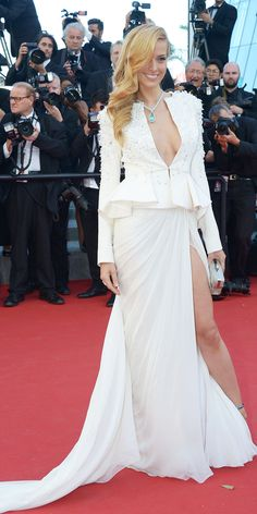 Cannes Film Festival 2015: Petra Nemcova in Zuhair Murad Couture with Chopard jewels.