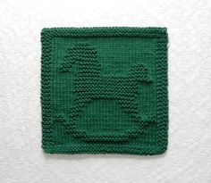 ROCKING HORSE Knit Dishcloth. Hand Knitted Unique Design. Forest Green 100% Cotton Dish Cloth - Wash Cloth. Nursery Decor. Hostess Gift