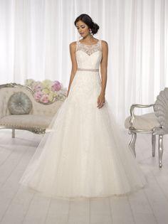 Boat neck a-line wedding dress