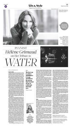Pianist Hélène Grimaud on Her Tribute to Water|Epoch Times - # Newsletter Layout, Newsletter Design, Newspaper Design Layout, Book Layout, Minimal Web Design, Editorial Layout, Editorial Design, Magazine Design, Ad Design