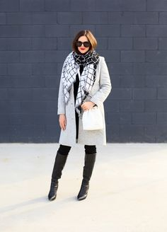 What I Wore | Check Mate  --  Shades: Karen Walker 'Super Duper'; Scarf: H&M; Sweater: J.Crew; Jeans: J.Crew; Coat: Target; Boots: Nine West; Quilted Emerson Crossbody; Vera Bradley