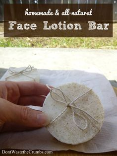DIY: Homemade All-Natural Face Lotion Bar via #dontwastethecrumbs More DIY cleaning recipes from #conveyawareness on a roundup that this blogger was featured on: http://www.iconveyawareness.com/2014/03/spring-into-natural-cleaning.html