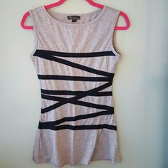 Grey tank Long grey tanks with black ribbon detail. great condition. Can fit a small or medium Forever 21 Tops Tank Tops