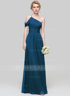 A-Line/Princess One-Shoulder Floor-Length Chiffon Bridesmaid Dress With Ruffle - madrina - brautjungfern kleider Dark Blue Prom Dresses, Dusty Pink Dresses, Vestidos Fashion, Fashion Dresses, Wedding Bridesmaid Dresses, Wedding Party Dresses, Royal Blue Bridesmaids, Special Occasion Dresses, Chiffon Dress