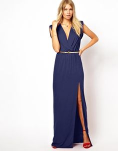 Love Wrap Front Maxi Dress With Thigh Split