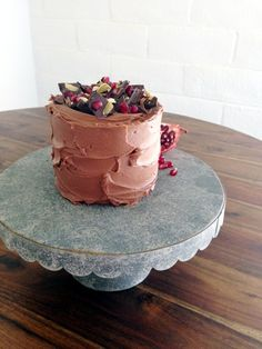 Dark Chocolate Pomegranate Pepita Cake - blog - enjoy cupcakes