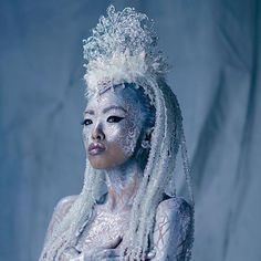 """"""" Ice Queen """" Body Painting: Michael Rosner of Eye Level Studio Model: Angel Li. - """" Ice Queen """" Body Painting: Michael Rosner of Eye Level Studio Model: Angel Lin Headpiece: Mi - Narnia, Ice Queen Costume, Tattoo Prices, Head Tattoos, Hair Shows, Cosplay, Fantasy Makeup, Gothic Makeup, Makeup Art"""
