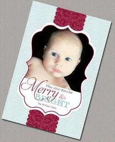 Photo Christmas Card, digital file, aqua and red Chevron, #photo, #christmas, #cards