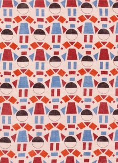 """Pattern design by Lekhtman Zaslavsky, ca.1929-31, """"Dolls"""" (boy-girl), Russia. You see girls, and if you turn the monitor, it will be boys."""