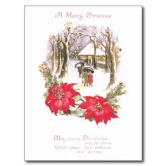 vintage poinsettia images | Poinsettias and Woodsy Scene Vintage Christmas Post Cards on Zazzle.co ...