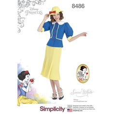 Create Disney's vintage-inspired Snow White dress and hat. As Snow White celebrates her 80th anniversary, we present this classic 1930s Misses' two-piece dress and hat with bow. Disney for Simplicity sewing patterns.