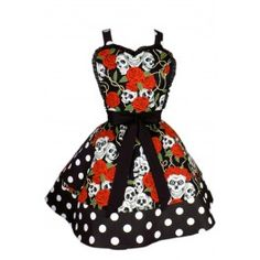 Hemet Skulls and Roses Two Tier Apron Polka Dot Retro Vintage Rockabilly Tattoo Retro Apron, Aprons Vintage, Retro Vintage, Novelty Aprons, Novelty Gifts, Pin Up Style, My Style, Cute Aprons, Inked Shop