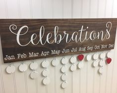 Family Celebrations Board - Family Birthdays Board - Family Calendar - Celebration Board - Family Birthday Calendar - Wall Hanging - CB002