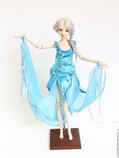 """Купить Авторская шарнирная кукла """"Голубой цветок"""" - голубой, авторская ручная работа, авторская работа"""