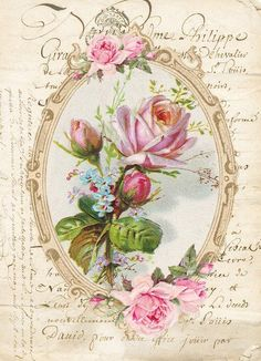 Furniture decals shabby chic french image transfer vintage floral rose frame pink old home Craft label script diy scrapbooking card making Decoupage Vintage, Vintage Ephemera, Vintage Cards, Vintage Postcards, Floral Vintage, Vintage Diy, Vintage Paper, Vintage Flowers, Vintage Prints