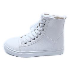 Epicsnob Womens Shoes White High Top Wedge Hidden Heel Lace Up Zipper Fashion Sneakers 8 M US ** Find out more details @