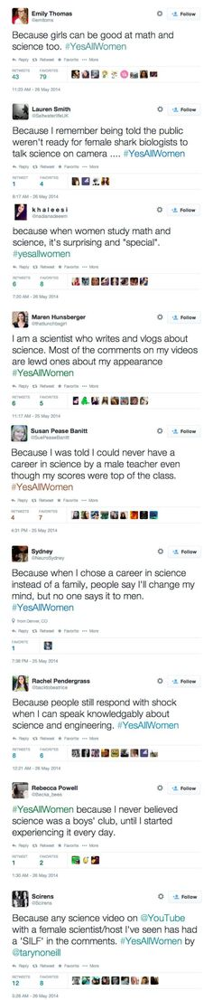 Girls in math and science are rare and special because woman usually take jobs in social sciences and liberal arts. They don't usually get STEM jobs. They are shocked because woman usually chose other things. (Never Try Truths)
