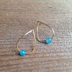 18 K Gold Plated Earrings - Aqua Jade – Pulp & Circumstance