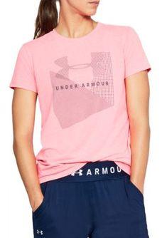 Under Armour Women's Sportstyle Mesh Logo Crew Neck Tee - Pink - Xs